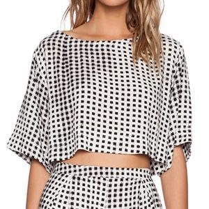 MINKPINK Gingham Crop Tee in Mono